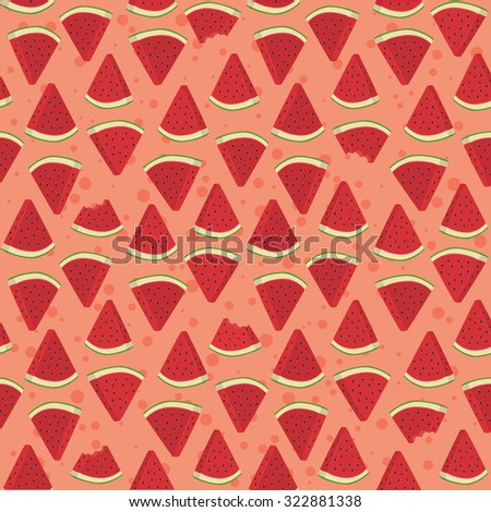 Seamless Pattern Watermelon Triangle Slice Bite. Seamless pattern vector illustration of watermelon fruit in pink background. - stock vector