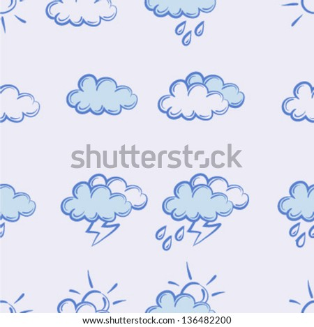 seamless pattern.weather doodle set - stock vector