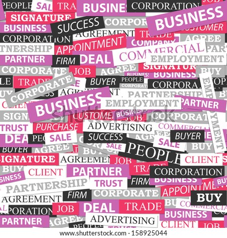 Seamless pattern, which is composed of words on business themes. Vector illustration. - stock vector