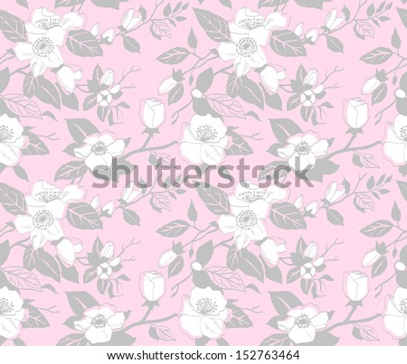 Seamless pattern with a branch of blossoming apple tree on a pink background - stock vector