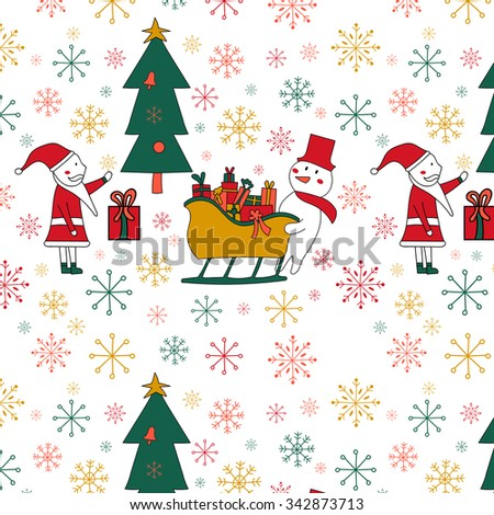 Seamless pattern with a Christmas tree, Santa and Snowman