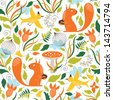 Seamless pattern with a cute squirrels  - stock