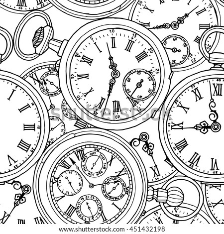 Seamless pattern with a different retro pocket watches. Vector black and white illustration.
