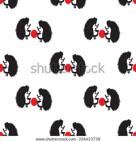 Seamless pattern with a hedgehog - stock vector