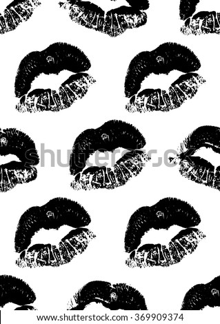 Seamless pattern with a lipstick kiss prints for wrapping, wallpaper, textile, invitation, wedding cards. Pattern in the swatches panel. - stock vector