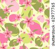 Seamless pattern with a pink flowers - stock vector