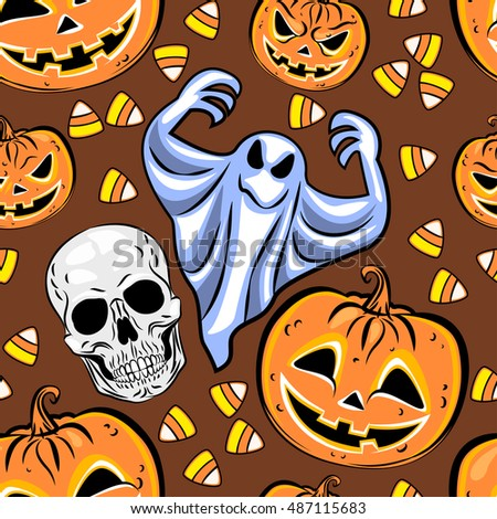 Seamless pattern with a pumpkins, ghosts and candies. Halloween Party design template. Vector