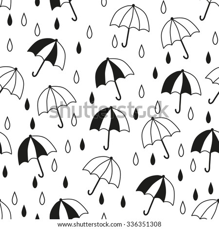 Seamless pattern with a umbrellas