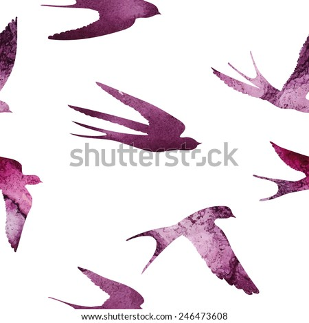 Seamless pattern with a watercolor swallows. Beautiful stain and texture of a paper. Retro pattern for your design, for web, packaging, and textile. - stock vector
