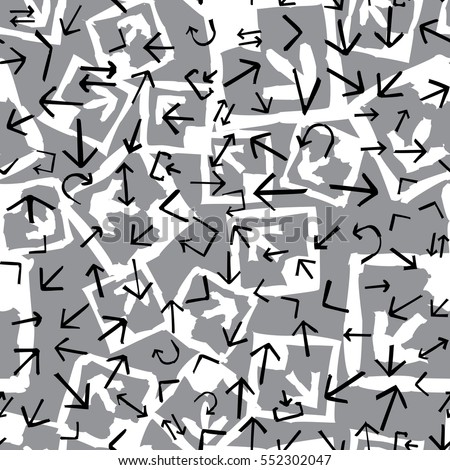 Seamless pattern with abstract arrows. White, black, gray background vector illustration.