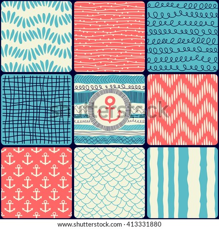 Seamless pattern with abstract background and anchor, patchwork tiles. Freehand drawing - stock vector