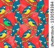 Seamless pattern with abstract birds sitting on a branch - stock photo