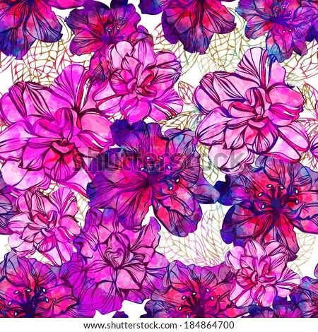 Seamless pattern with abstract bright flowers. Vector, EPS 10  - stock vector