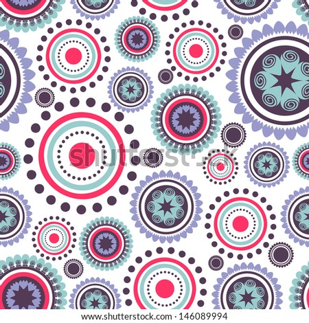 Seamless pattern with abstract colorful circles - stock vector