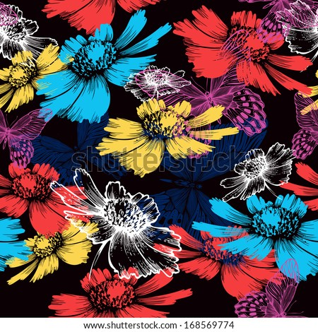 Seamless pattern with abstract colorful flowers and butterflies. Vector illustration. - stock vector