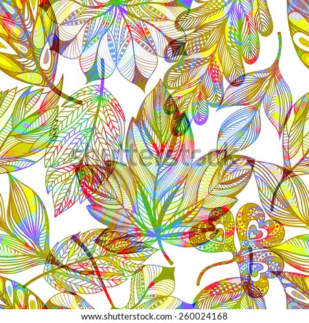 Seamless pattern with abstract colorful leaves. Vector, EPS10.  - stock vector