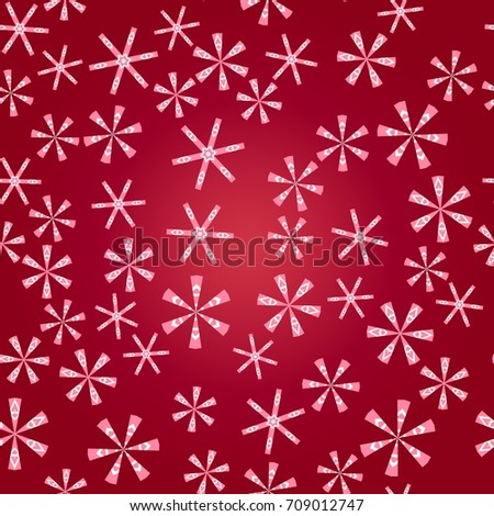 Seamless pattern with abstract colorful snowflakes on red background. Chaotic, random, scattered winter motives. Vector illustration.