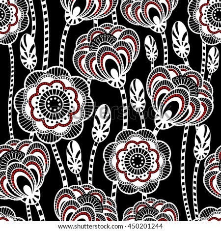 Seamless pattern with abstract flowers. Vector floral white illustration on black background.