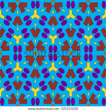 Seamless pattern with abstract geometric shapes on blue background - stock vector
