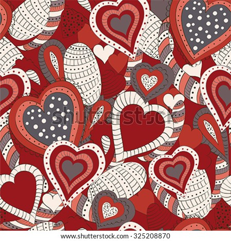 Seamless pattern with abstract hearts for background. Illustration, vector - stock vector