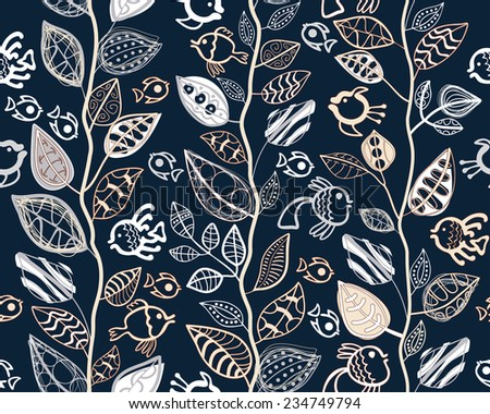 Seamless pattern with abstract leaves and fish. EPS10 vector file organized in layers for easy editing. - stock vector