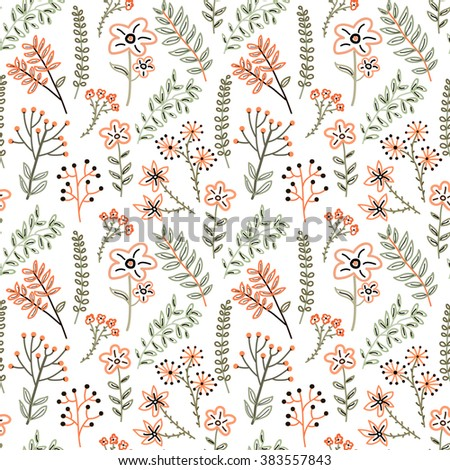 Seamless pattern with abstract meadow flowers and herbs on a white background.