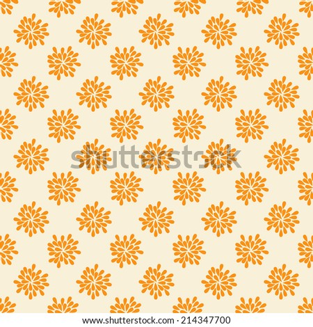 Seamless pattern with abstract orange flowers. Vector illustration for holiday design. - stock vector