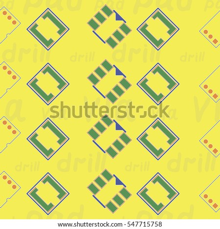 "Seamless pattern with abstract placement on colorful background with lettering ""via, pad, drill"". Abstract pcb design."
