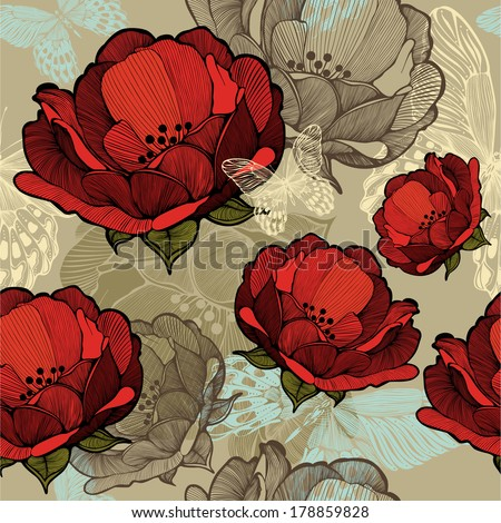 Seamless pattern with abstract red flowers. Vector illustration. - stock vector