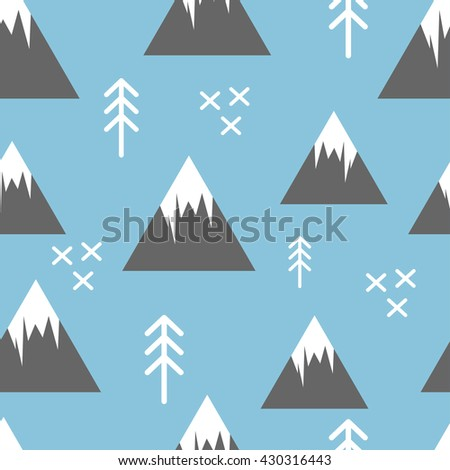 Seamless pattern with abstract simple mountains and fir trees. Baby and child clothing, wallpaper, home decor background
