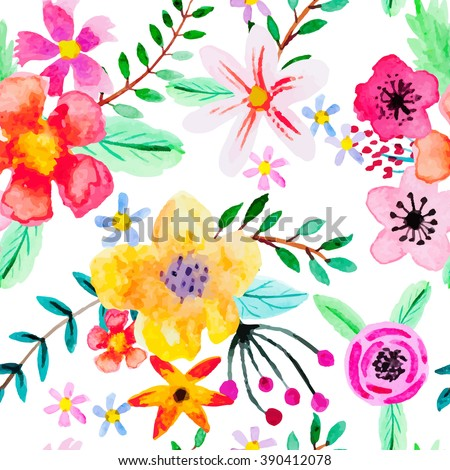 Seamless pattern with abstract watercolor flowers. Red, pink, yellow and orange flowers on a white background. Bright, beautiful vector illustration for your design. - stock vector