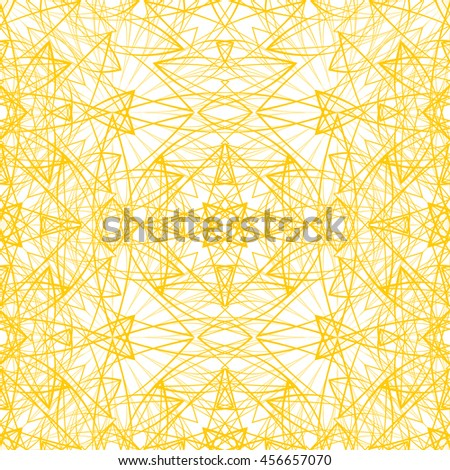 Seamless pattern with abstract yellow ornament isolated on white (transparent) background. Vector illustration eps - stock vector