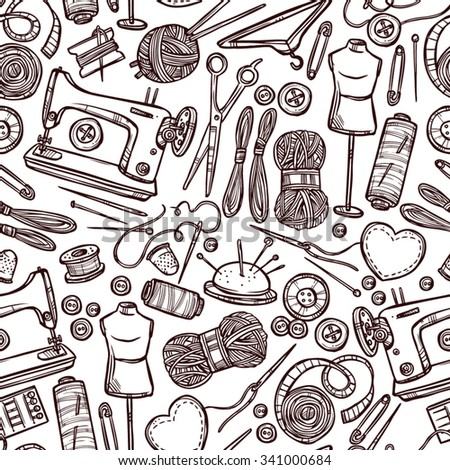 Seamless Pattern With Accessories And Equipment For Sewing - stock vector