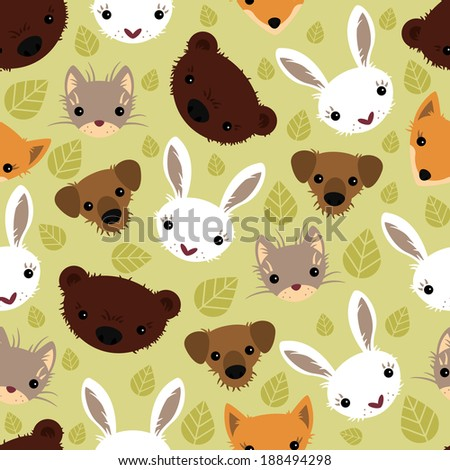 Seamless pattern with adorable animals.  Vector seamless texture for wallpapers, pattern fills, web page backgrounds - stock vector
