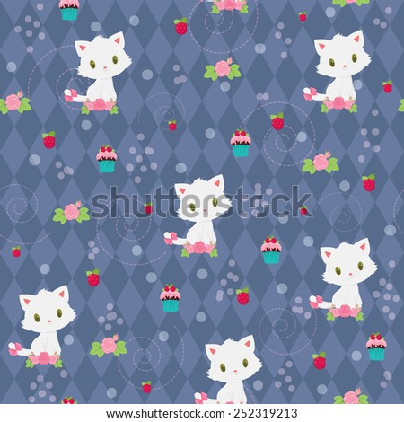 Seamless pattern with adorable white kitten, flowers, raspberries and muffins