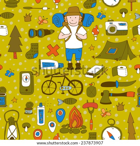 Seamless pattern with adventure equipment. EPS 10. No transparency. No gradients.