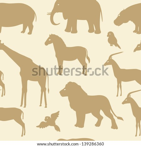 Seamless pattern with african animal silhouettes - stock vector