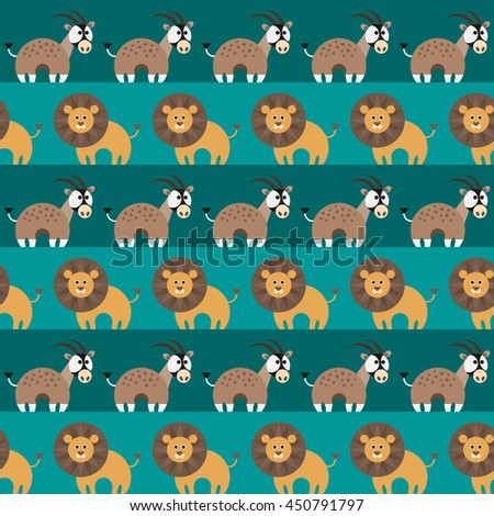 Seamless pattern with african animals, antelope oryx and lion. Vector illustration.