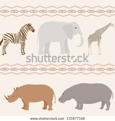Seamless pattern with african animals on wavy background - stock vector