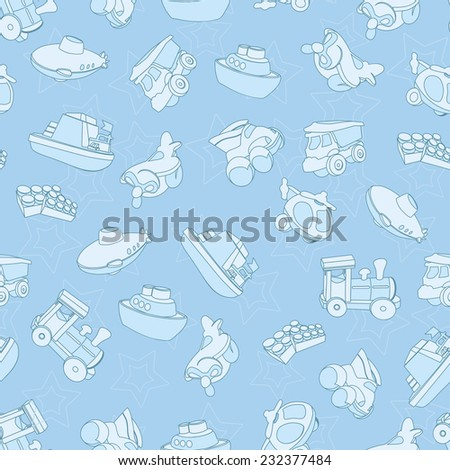 Seamless pattern with airplane, airplane, boat, ship, helicopter, cube, submarine, car, truck, van, for kids in cartoon style. Vector illustration. - stock vector
