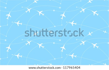 Seamless pattern with airplanes. Abstract illustration - stock vector
