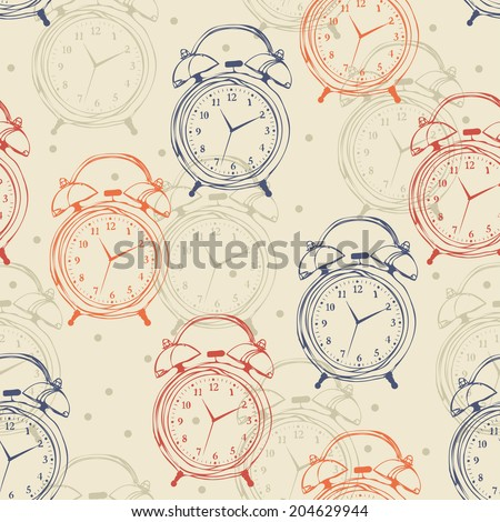 Seamless pattern with alarm clocks in vintage style. Vector illustration. Retro background. Hipster. - stock vector