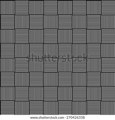 Seamless pattern with alternating lined squares. Black and white, minimal texture. Repeatable vector graphics.