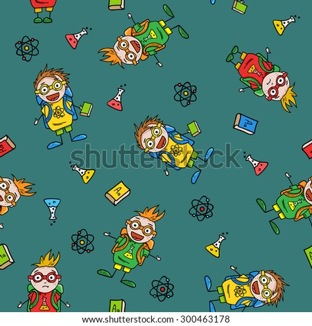 seamless pattern with amusing schoolboys and school accessories on green dark background, vector illustration - stock vector