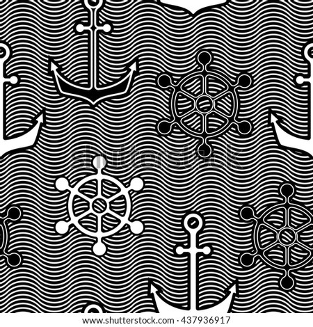 Seamless pattern with anchors and wheels in waved background. Black and white.