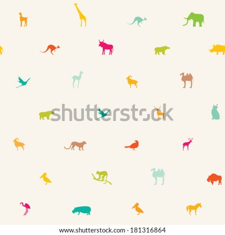 seamless pattern with animals of different colors - stock vector