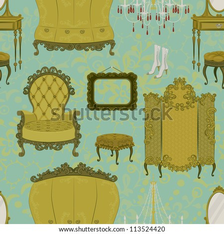 Seamless pattern with antique furniture - stock vector