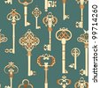 Seamless pattern with antique keys - stock vector