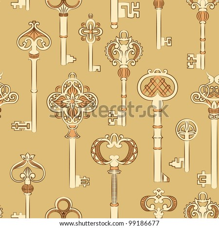 Seamless pattern with antique keys