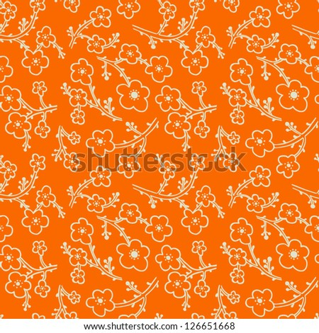 Seamless pattern with apple tree flowers. Abstract floral background. Vector illustration - stock vector